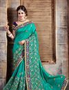 image of Cyan Color Party Wear Crepe And Silk Designer Saree