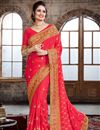 image of Party Wear Designer Crepe And Silk Saree In beautiful Pink Color