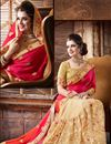 photo of Mesmeric Pink And Cream Color Crepe, Silk And Net Party Wear Saree