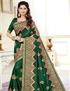 image of Fancy Traditional Wear Dark Green Weaving Work Saree In Uppada Silk