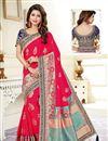 image of Dark Pink Fancy Traditional Wear Uppada Silk Weaving Work Saree