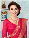 photo of Crepe And Silk Pink Color Designer Party Wear Saree With Embroidery Work