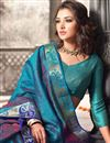 photo of Cyan Color Traditional Silk Saree With Silk Blouse