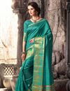 image of Traditional Party Wear Silk Saree In Green Color