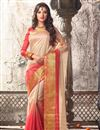 image of Cream And Pink Color Traditional Silk Saree With Silk Blouse