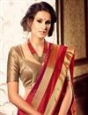 photo of Alluring Red Color Party Saree With Fancy Blouse
