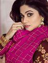 photo of Shamita Shetty Featuring Maroon Anarkali Salwar Kameez In Art Silk Fabric With Embroidery Work