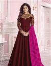 image of Shamita Shetty Featuring Maroon Anarkali Salwar Kameez In Art Silk Fabric With Embroidery Work