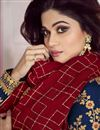 photo of Shamita Shetty Featuring Art Silk Fabric Navy Blue Long Anarkali Suit With Embroidery Work