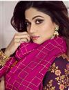 photo of Shamita Shetty Featuring Anarkali Salwar Suit In Art Silk Fabric Purple With Embroidery Work