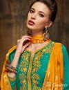 photo of Embroidered Satin Fabric Designer Patiala Salwar Kameez In Teal Color