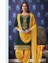 image of Cotton Festive Wear Fancy Embroidered Patiala Dress In Green