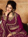 photo of Occasion Wear Burgundy Embroidered Anarkali Salwar Kameez In Georgette Fabric