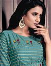 photo of Cyan Color Chanderi Fabric Festive Wear Designer Gown Style Kurti