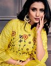 photo of Festive Wear Designer Yellow Color Gown Style Kurti In Chanderi Fabric