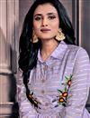 photo of Chanderi Fabric Festive Wear Designer Lavender Color Gown Style Kurti