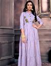 image of Chanderi Fabric Festive Wear Designer Lavender Color Gown Style Kurti
