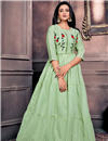 image of Festive Wear Chanderi Fabric Designer Gown Style Sea Green Color Kurti