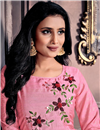 photo of Festive Wear Designer Chanderi Fabric Gown Style Kurti In Pink Color