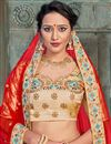 photo of Cream Designer Embroidered Lehenga Choli In Satin Fabric With Alluring Blouse