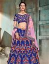image of Occasion Wear Blue Embroidered Lehenga In Satin Fabric With Designer Blouse
