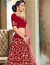 photo of Satin Fabric Red Sangeet Wear 3 Piece Embroidered Lehenga With Enigmatic Blouse