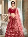 image of Satin Fabric Red Sangeet Wear 3 Piece Embroidered Lehenga With Enigmatic Blouse