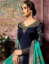 photo of Georgette Embroidered Designer Navy Blue Straight Cut Suit With Fancy Dupatta