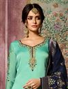 photo of Georgette Cyan Embroidered Designer Straight Cut Suit With Fancy Dupatta