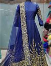 photo of Wedding Wear Embellished Long Anarkali Suit In Blue Taffeta Silk