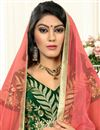 photo of Designer Embroidered Velvet Green Fancy Lehenga