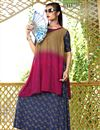 image of Rayon Printed Party Wear Readymade Kurti In Multi Color