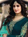 photo of Kritika Kamra Teal Satin Georgette Fabric Party Wear Straight Cut Suit With Embroidery Work