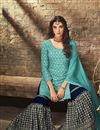 photo of Sky Blue Designer Wedding Wear Sharara Dress In Georgette Fabric
