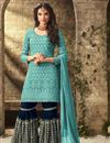 image of Sky Blue Designer Wedding Wear Sharara Dress In Georgette Fabric