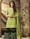 image of Function Wear Georgette Fabric Sharara Suit With Work In Green