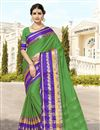 image of Cotton And Silk Pujawear Traditional Fancy Saree In Green