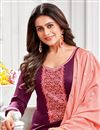 photo of Purple Color Embroidered Casual Wear Trendy Salwar Suit In Cotton Fabric