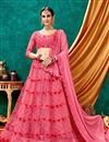 image of Eid Special Embroidered Wedding Wear Lehenga Choli In Pink Color Net Fabric