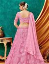 photo of Eid Special Net Fabric Sangeet Wear Lehenga With Embroidery Work In Pink Color