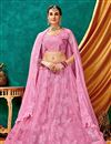 image of Eid Special Net Fabric Sangeet Wear Lehenga With Embroidery Work In Pink Color