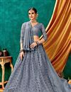 image of Embroidery Work On Festive Wear Lehenga In Grey Color Net Fabric
