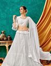 image of Eid Special White Color Designer Function Wear Lehenga With Embroidery Work On Net Fabric