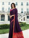 image of Prachi Desai Party Wear Saree In Purple Fancy Fabric With Border Work