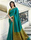 image of Prachi Desai Designer Cyan Fancy Fabric Party Wear Saree With Border Work