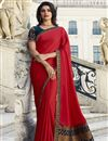 image of Prachi Desai Fancy Fabric Designer Party Style Saree In Red With Border Work