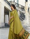 image of Prachi Desai Party Wear Yellow Fancy Fabric Saree With Border Work
