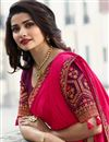 photo of Prachi Desai Party Wear Saree In Fancy Fabric Pink With Border Work
