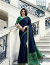 image of Prachi Desai Designer Fancy Fabric Navy Blue Party Wear Saree With Border Work