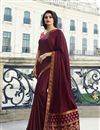 image of Prachi Desai Party Wear Saree In Fancy Fabric Wine Color With Border Work